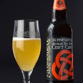 Stonewell Medium Dry quality Irish craft cider, with glass