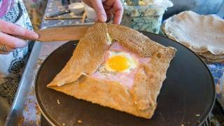 egg, ham and cheese crepe