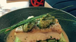 Roasted fillet of cod on a bed of leeks